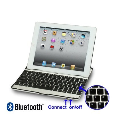 AZERTY Keyboard Case iPad2- Coque et clavier bluetooth en aluminum spécialement conçu pour iPad2 - Azerty - Noir (dispo aussi en blanc), transformez votre ipad2 en Macbook (existe aussi en version qwe