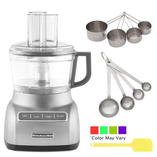 Kitchenaid Kfp0711Cu 7-Cup Food Processor W/ Exactslice System In Contour Silver + Update International Heavy-Duty Stainless Measuring Cup Set + Accessory Kit front-122545