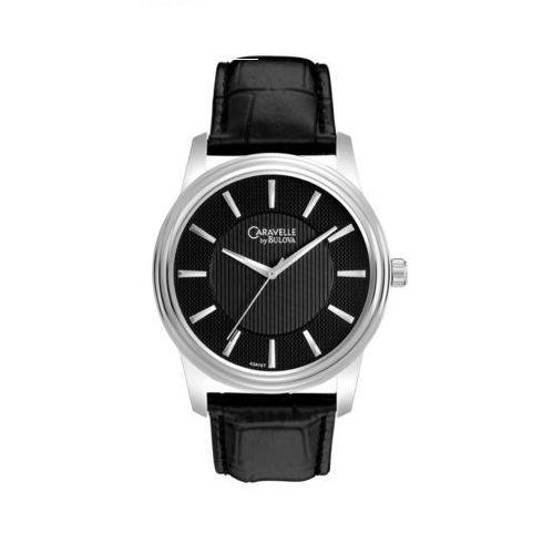 caravelle-by-bulova-43a107-black-dial-black-leather-strap-dress-mens-watch-by-caravelle-by-bulova