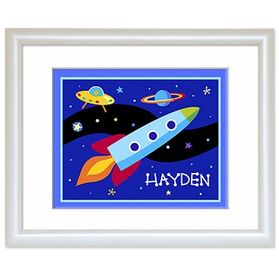 Olive Kids Out Of This World Personalized White Framed Print front-940222
