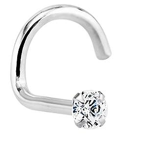 1.5mm (.015 ct. tw) Diamond 14K White Gold Nose Rings Twist Screw