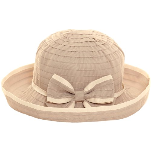 Ladies Wide Brim Contrast Crushable Summer Sun Beach Hat with Bow Detail (S/M (56cm), Coffee)