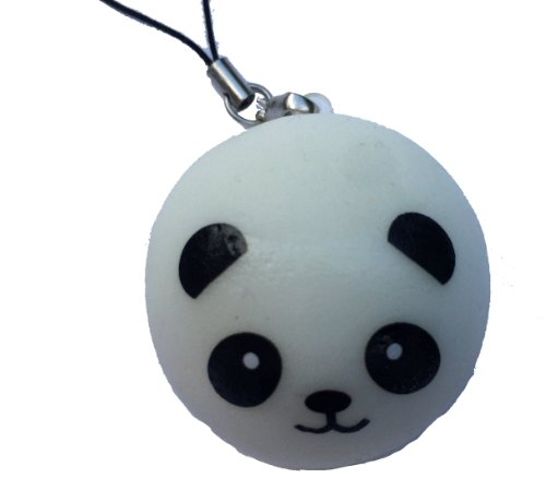 panda bear bun squishy cellphone charm kawaii - 1