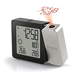 PROJI Projection Clock with In/Outdoor Temperature and Weather - Silver