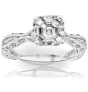1.1 Carat Asscher Cut / Shape 14K White Gold Channel Set Eternity Curving Diamond Engagement Ring ( H-I Color , SI1 Clarity )