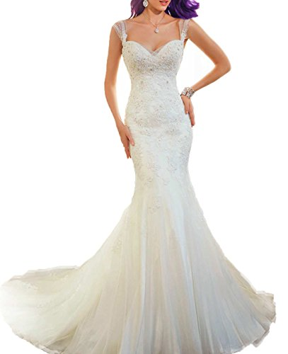 AbaoWedding Women's Sleeveless Mermaid Wedding Dress Long White (size6)