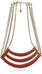 Belle Noel Coral Enameled Collar Necklace
