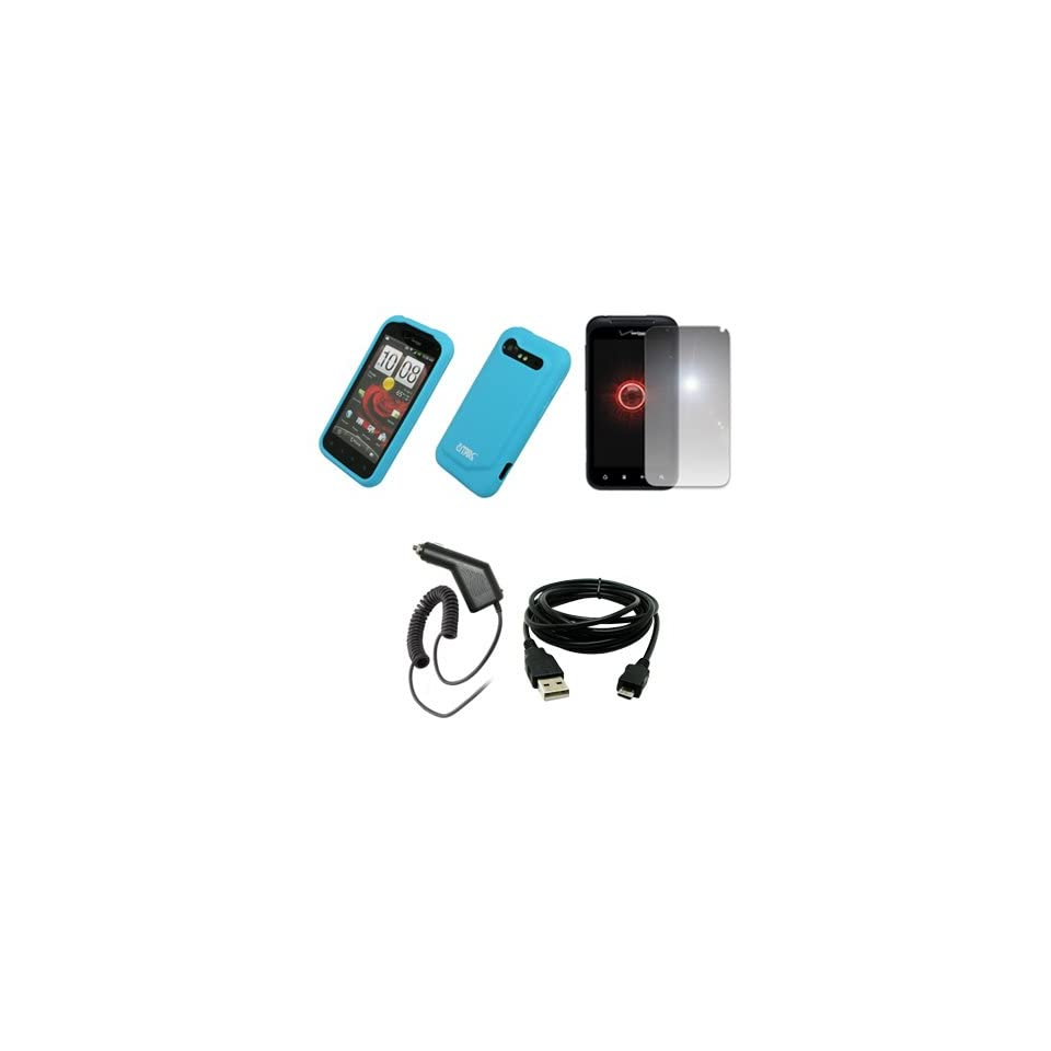 EMPIRE Light Blue Silicone Skin Case Cover + Mirror Screen Protector + Car Charger (CLA) + USB Data Cable for Verizon HTC Droid Incredible 2 6350