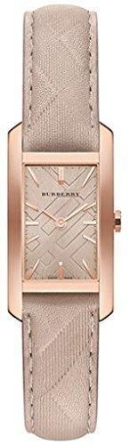 Chapado en oro de Burberry BU9511 20 mm caja de acero inoxidable de color Beige de piel de becerro de las mujeres de los relojes de Zafiro Sintético
