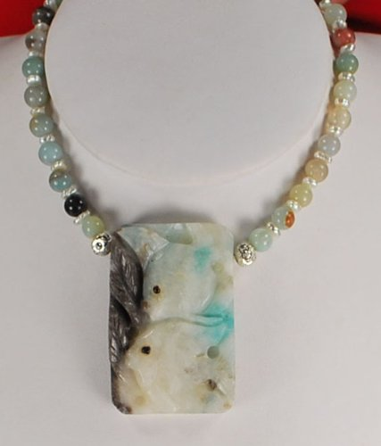 Natural Amazonite & Carved Fish Pendant Silver Necklace N2_0715_16