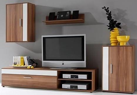 2-2-1-4-833: TV-Wand - Wohnwand - TV-Möbel - walnuss-weiss dekor - Schrank