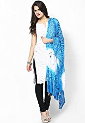 Soundarya Ethnicwear Blue White Cotton Bandhej Handwork Dupatta for Women (3037)