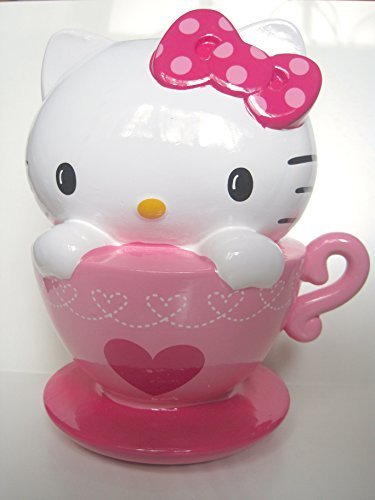 Hello Kitty coin Bank, Ceramic Pink & White Hello Kitty In a Cup Piggy Bank