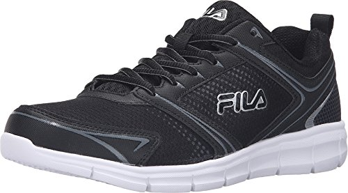 Fila Men's Windstar 2 Running Shoe, Black/Black/Metallic Silver, 11.5 M US