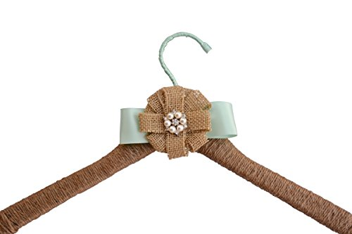 Wedding Dress Hanger Rustic Farmhouse Burlap Jute Bridal Shower Gift (Mint)
