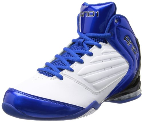 AND 1 Men's Master 2 Mid Basketball Shoe, White/Royal/Black, 8.5 M US