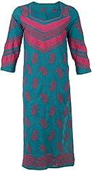 ALMAS Lucknow Chikan Women's Cotton Regular Fit Kurti (Green and Magenta)