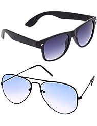 Unisex Uv Protected Combo Pack Of Aviator Sunglasses And Wyafarer Sunglasses ( Black Wayfarer - Black Shd Blue...