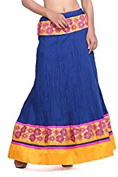 Cotton blue skirt with gota border (only front)