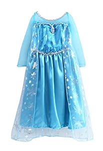 Frozen Anna Elsa Deluxe Girl's Costume Enchanting Dress (Age 5-6 ( Heights upto 51 inches or 130 cm), Elsa - BlueWithCape&Badge)