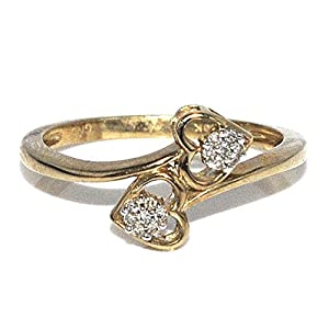 Twin Heart Ring 0.05ct 10K Yellow Gold Promise Fashion Ring