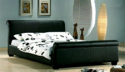GENOA 5FT BLACK KING SIZE SLEIGH FAUX LEATHER BED