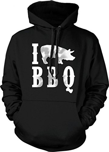 I Love BBQ Hooded Sweatshirt, Funny Bar-B-Que I Pig BBQ Design Design Hoodie (Black, X-Large)