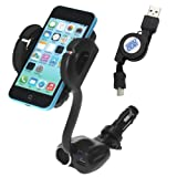 IKross Cigarette Car Mount Holder with Twin Cigarette Socket and 1 USB Port + Retractable Micro USB Cable for Nokia Lumia 1520/ 625/ 1020/ 925/ 720/ 620/ 520/ 510/ 920/ 820/ 810/ 710/ 900 Cellphone Smartphone and more