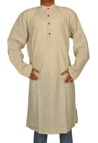Handmade Casual Indian Khadi Mens Long Kurta Fabric For Winter & Summer Size-4XL