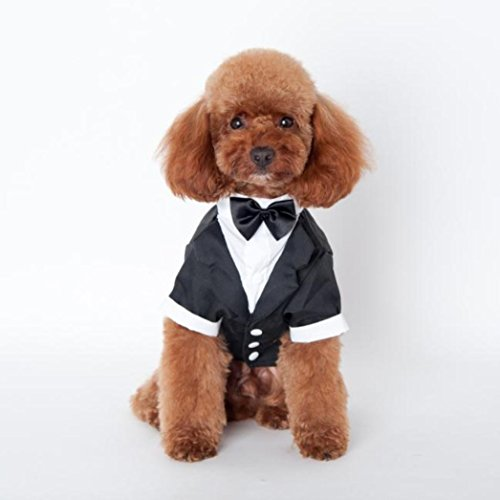 Outtop Gentlemen Butler Housekeeper Costumes Bow Tie Tuxedo Party Suit for Small-sized Pets Dogs Teddy Poodle Pug Chihuahua (L)
