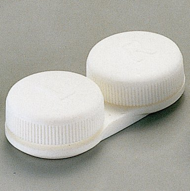 OptiSafe - Flat bed contact lens case - WHITE ~ (3 pack)