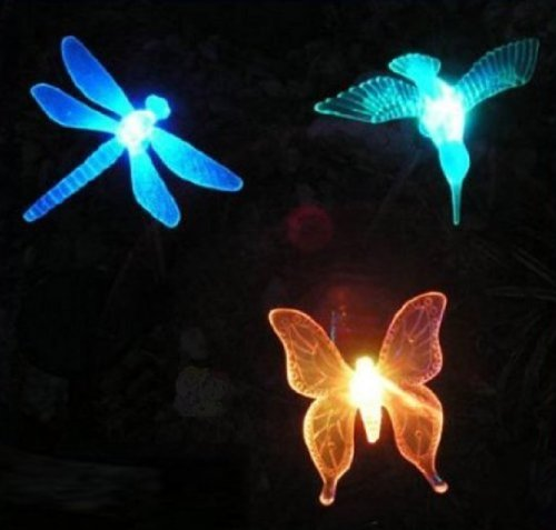 Rextin 3 Pcs Decorative Solar Garden Stake Led Light Lights Lamp (Hummingbird,Dragonfly,Butterfly)For Garden Yard Outdoor Decorative Landscape Year-Round, Very Cool front-446535