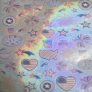 Holographic Stickers - Happy 4th of July