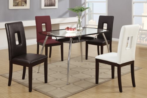 Modern Black And Sliver Tempered Glass Top Dining Table by Poundex