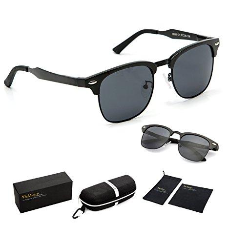 Dollger Clubmaster Polarized Wayfarer Sunglasses Horn Rimmed Half Frame ( Black Lens+Black Frame ) (Half Rimmed Sunglasses For Women compare prices)