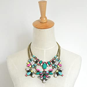 Colorful Gem Garden Party Statement Necklace - Great Quality