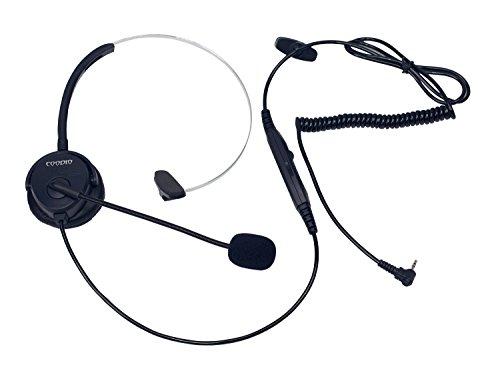 Coodio Telefono Cordless DECT Cuffia [interruttore mute] [Controllo del Volume] 2,5mm Auricolare Con Microfono [Cancellazione del Rumore] Per Panasonic Gigaset Telefoni Cordless DECT, Nero