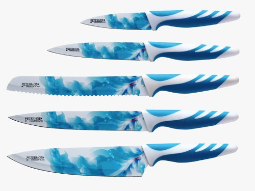 Peterhof 5 Pc Knife Set With Anti Bacterial Non Stick Coating (Sea Blue)