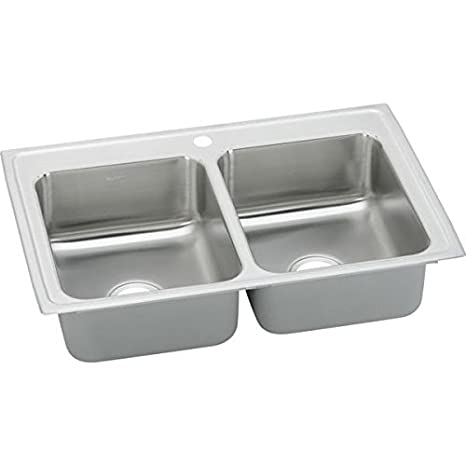 "Elkay BPSRQ23172 20 Gauge Stainless Steel 23"" x 17"" x 6.125"" Double Bowl Top Mount Kitchen Sink with 2 Hole"