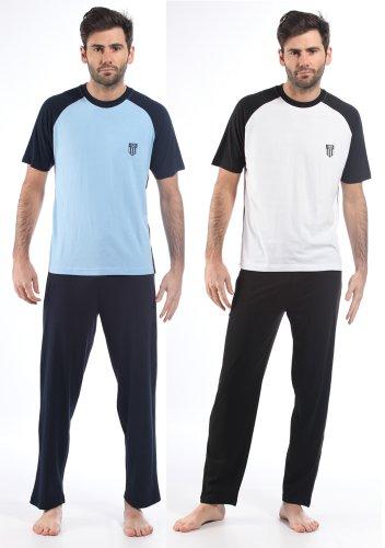 Mens/Gentlemens 100% Cotton Loungewear Short Sleeve T-Shirt & Pyjamas, Various Colours & Sizes