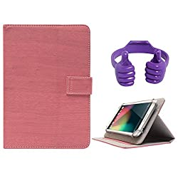 DMG Protective 7in Flip Book Cover Case for Lenovo A3500-HV/A7-50 (Pink) + Tablet Holder Hand Stand