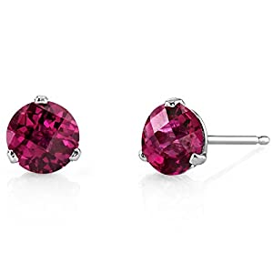Revoni 14ct White Gold Martini Style Round Cut 2.25 Carats Ruby Stud Earrings