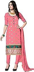 RADHE STUDIO Women's Cotton Un-Stitched Salwar Suit (RSOM KUM-8005, Pink)