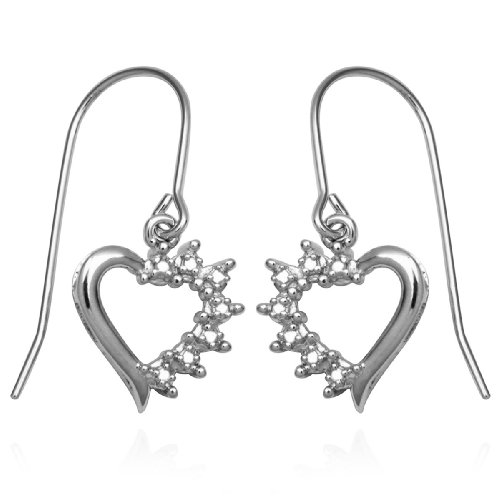 Sterling Silver Diamond Open Heart Wire Earrings