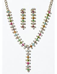 DollsofIndia Multicolor Stone Studded Oxidised Metal Party Necklace With Earrings - Stone And Metal - Multicolor...