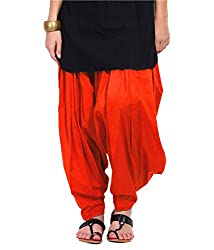 DNK Women's Cotton Patiala Salwar (DNK_0009_Orange_Free size)