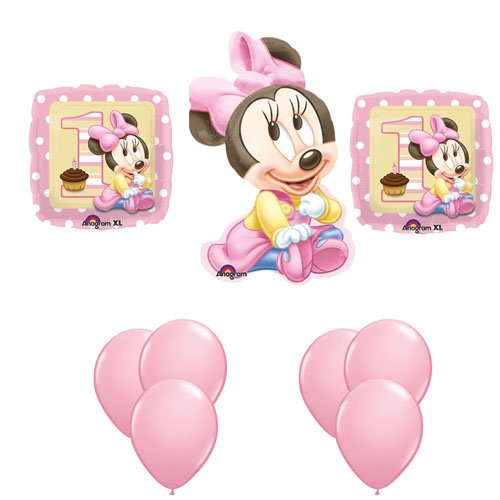 Baby Minnie Mouse 1St Birthday Balloon Party Set Mylar Latex Disney Bouquet front-986542
