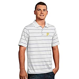 Pittsburgh Pirates Deluxe Striped Polo (White) by Antigua