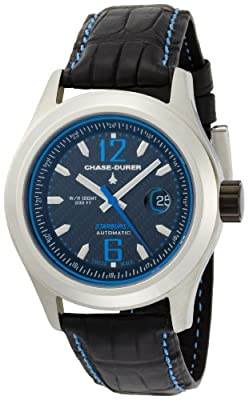 Chase-Durer Men's 990.2BL-ALLI Starburst Automatic Blue-Stitched Leather Strap Watch