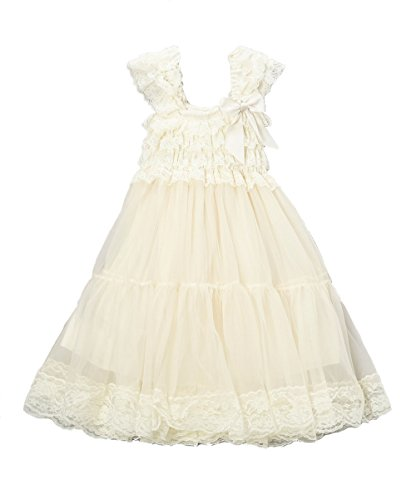 Cutie Baby Toddler Girls Ivory Flower Girl Lace Chiffon Dress